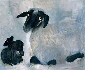 Suffolk Clun-Cross Ewe with Two Lambs