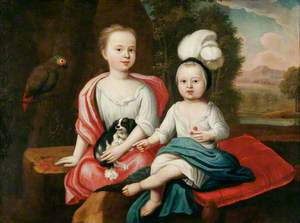 Young Children with a Spaniel and a Parrot