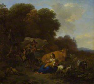 A Peasant playing a Hurdy-Gurdy to a Woman and Child in a Woody Landscape, with Oxen, Sheep and Goats
