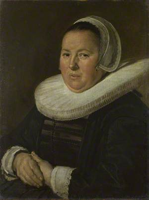 Portrait of a Middle-Aged Woman with Hands Folded