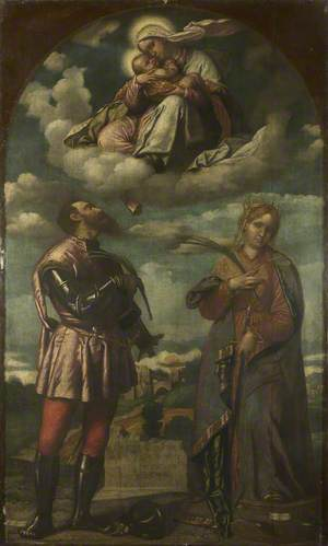 The Virgin with the Infant Christ, seated upon Clouds above Saint Hippolytus and Saint Catherine of Alexandria