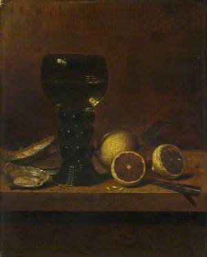 Still Life: A Goblet of Wine, Oysters and Lemons