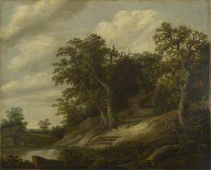 A Cottage among Trees on the Bank of a Stream