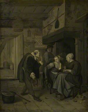 An Itinerant Musician saluting Two Women in a Kitchen