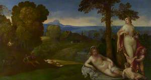 Nymphs and Children in a Landscape with Shepherds