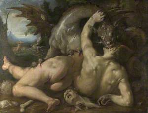 Two Followers of Cadmus devoured by a Dragon