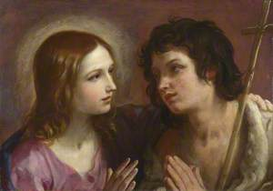Christ embracing Saint John the Baptist