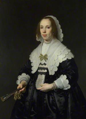 Portrait of a Lady in Black Satin with a Fan