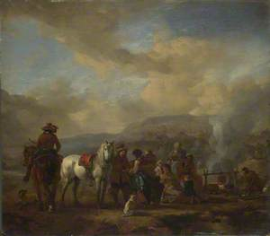 Two Horsemen at a Gipsy Encampment, One having his Fortune told