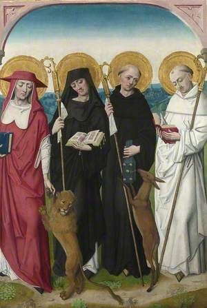 Saints Jerome, Bernard (?), Giles and Benedict (?): Reverse of Right Hand Shutter