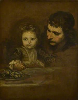 A Man and a Child eating Grapes