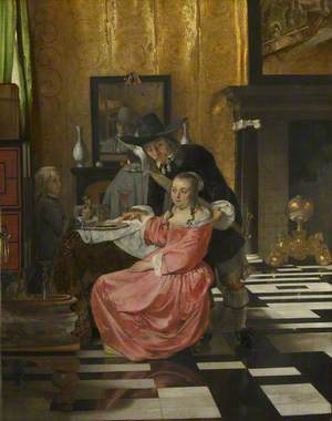 An Interior, with a Woman refusing a Glass of Wine