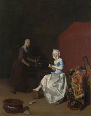 A Young Lady trimming her Fingernails, attended by a Maidservant
