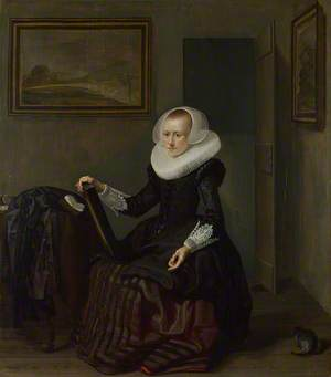A Woman holding a Mirror