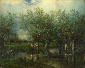 Willows, with a Man Fishing
