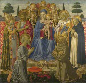 The Virgin and Child Enthroned among Angels and Saints