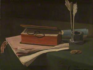 Still Life with Book, Papers and Inkwell