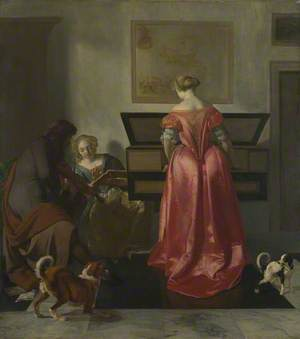 A Woman playing a Virginal, Another singing and a Man playing a Violin