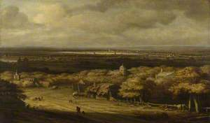 An Extensive Landscape with Houses in a Wood and a Distant Town