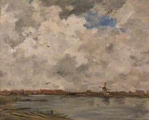 A Windmill and Houses beside Water: Stormy Sky