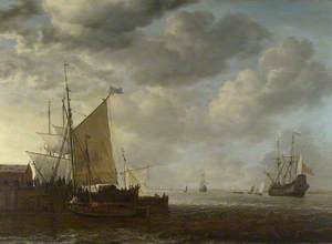 A View of an Estuary, with Dutch Vessels at a Jetty and a Dutch Man-of-War at Anchor