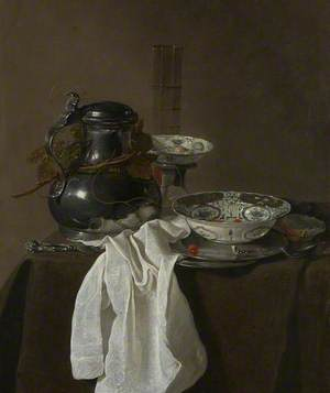 Still Life with a Pewter Flagon and Two Ming Bowls