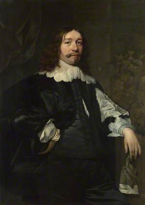 Portrait of a Man in Black holding a Glove