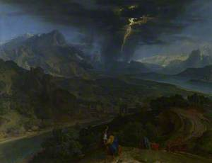 Mountain Landscape with Lightning