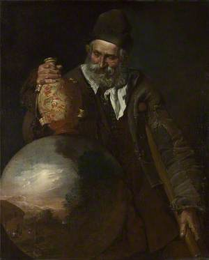 An Old Man holding a Pilgrim-Bottle