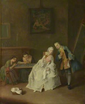A Lady receiving a Cavalier