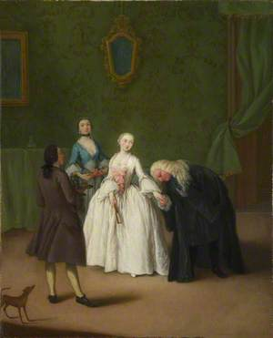 A Nobleman kissing a Lady's Hand