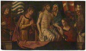 The Dead Christ in the Tomb, with the Virgin Mary and Saints