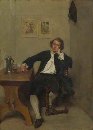 A Man in Black smoking a Pipe