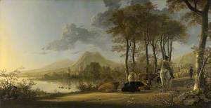 River Landscape with Horseman and Peasants