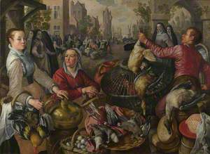The Four Elements: Air. A Poultry Market with the Prodigal Son in the Background