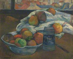 Bowl of Fruit and Tankard before a Window