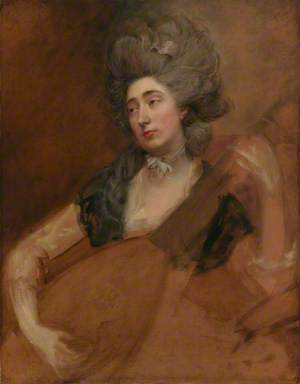 Portrait of Margaret Gainsborough holding a Theorbo