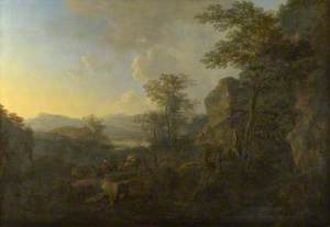 A Rocky Landscape with Peasants and Pack Mules