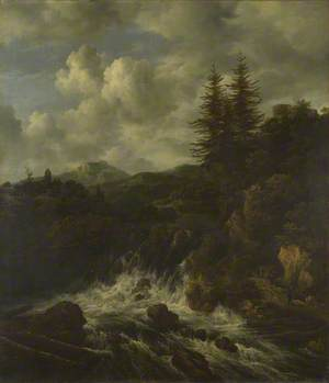 A Landscape with a Waterfall and a Castle on a Hill