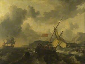 An English Vessel and a Man-of-war in a Rough Sea off a Coast with Tall Cliffs