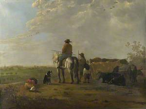 A Horseman with a Cowherd and Two Boys in a Meadow, and Seven Cows