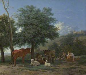 Farm Animals in the Shade of a Tree, with a Boy and a Sleeping Herdswoman