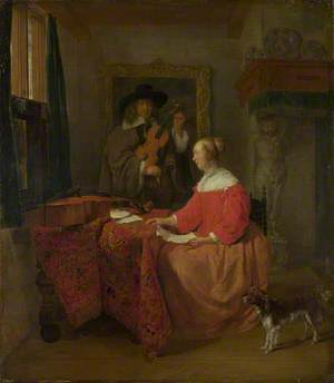 A Woman seated at a Table and a Man tuning a Violin