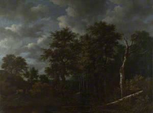 A Pool surrounded by Trees, and Two Sportsmen coursing a Hare