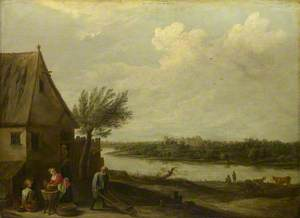 A Cottage by a River with a Distant View of a Castle