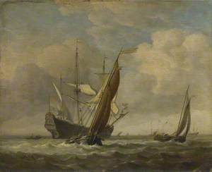 Two Small Vessels and a Dutch Man-of-War in a Breeze