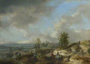 A Dune Landscape with a River and Many Figures