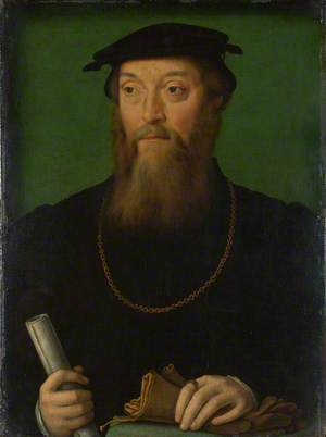 Portrait of a Man holding a Scroll and Gloves