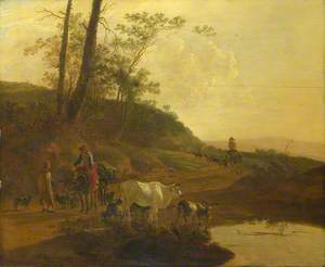 Muleteers, and a Herdsman with an Ox and Goats by a Pool