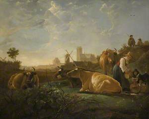 A Distant View of Dordrecht, with a Milkmaid and Four Cows, and Other Figures ('The Large Dort')
